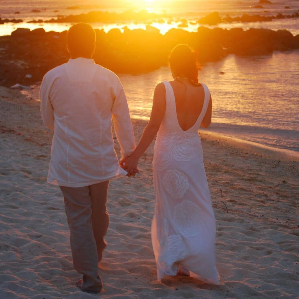 Beautiful sunset wedding at Veranda Paul  Virginie in Mauritiushellip