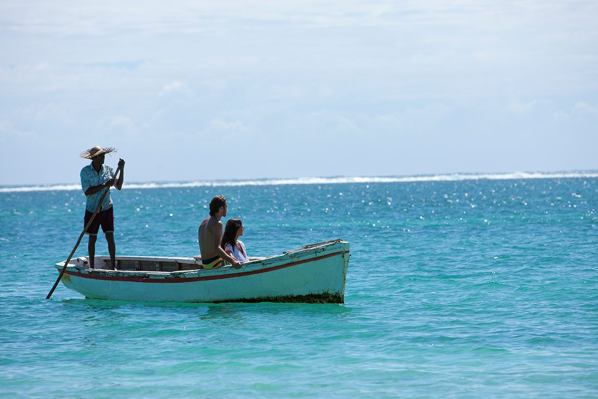 Trip in the lagoon in a traditional pirogue