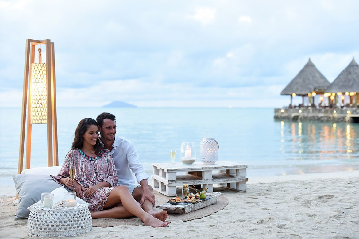 Romantic setting just for two on the beach